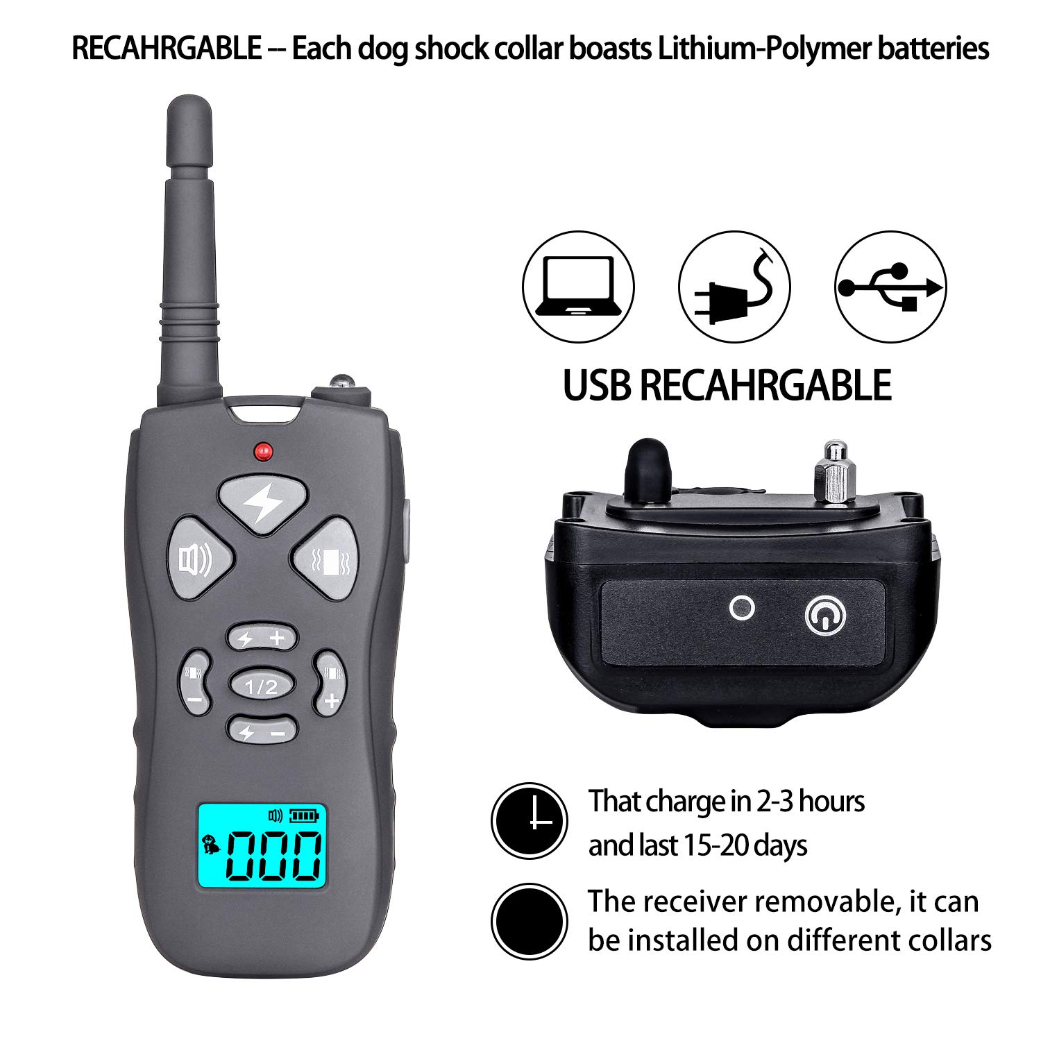 CANAVIS Dog Shock Collar with 1800Ft Remote, Waterproof Dog Training Collar, Rechargeable Electronic Collar with Vibration Tone Shock Modes, Adjustable Collar Strap for Small Medium Large Dog by CANAVIS (Image #8)