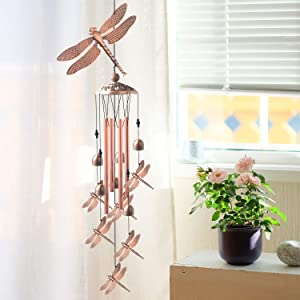 JOBOSI Copper Dragonfly Wind Chime, Dragonfly Gifts, Garden Decor, Garden Gifts, Wind Chime Outdoor, Yard Decor, Gifts for mom, Gifts for Grandma, Gifts for Friends