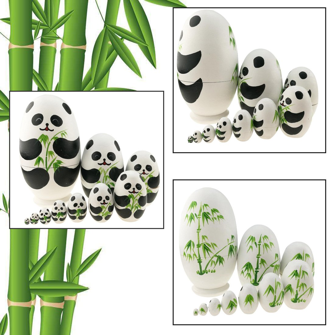 Apol Cute Panda With Bamboo Egg Shape Handmade Wooden Russian Nesting Dolls Matryoshka Doll Set 10 Pieces in a Exquisite Gift Box With Bow For Home Decoration Kids Toy Christmas Birthday Easter Gift by Apol (Image #3)