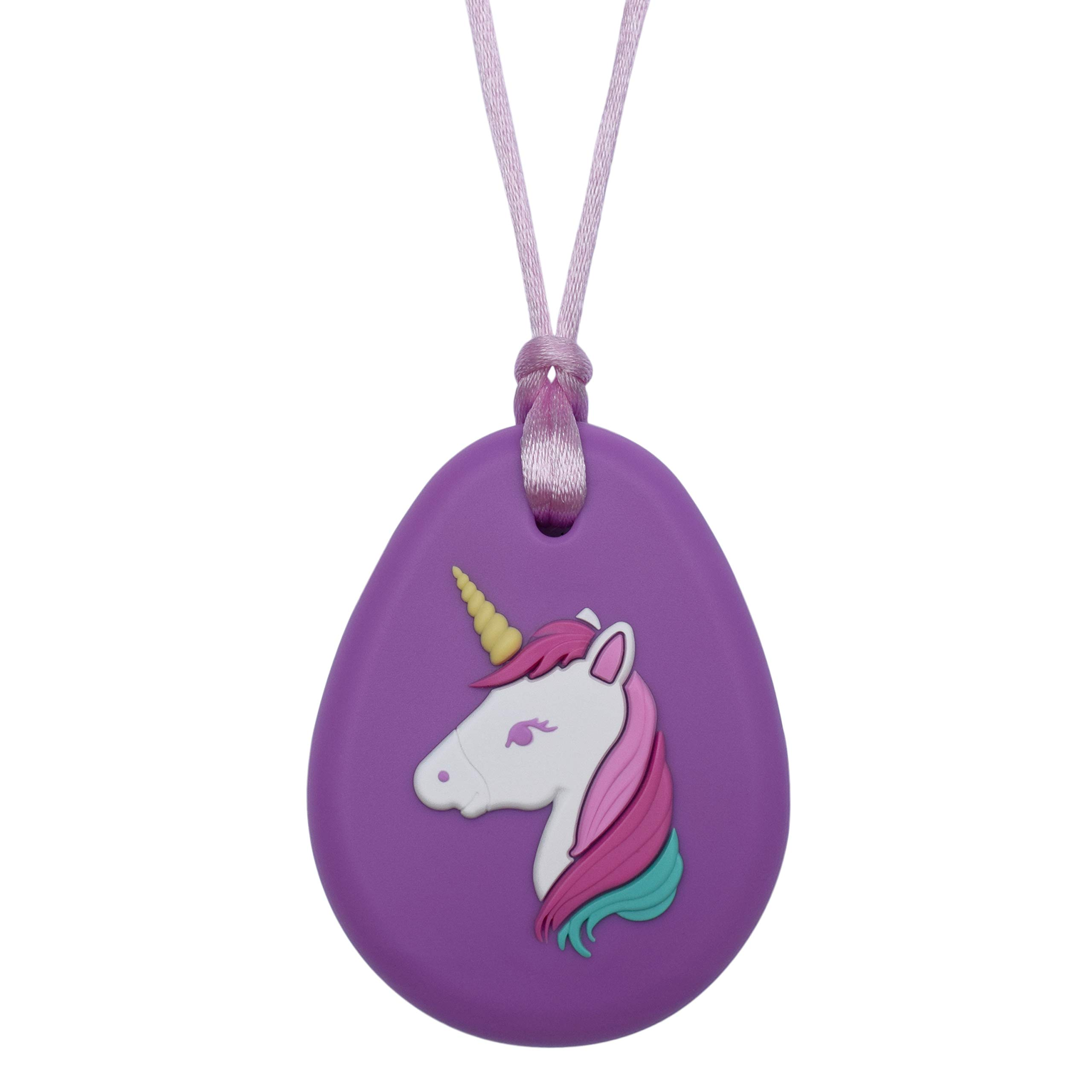 Munchables Unicorn Pendant - Sensory Chew Necklace for Girls (Purple)