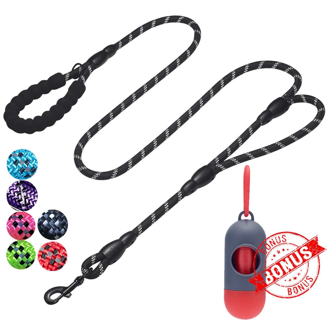 tobeDRI Heavy Duty Dog Leash - 2 Padded Handles, 6 feet Long - Dog Training Walking Leashes for Medium Large Dogs (Rope Leash-Black) by tobeDRI