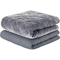 Premium Weighted Blanket Delux Set | 60''x80'', 25lb | W/Luxurious Removable Minky Quilted Cover | Dark Grey-Diamond