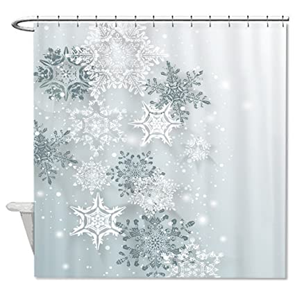 Amazon.com: Yilooom Snowflake Winter Shower Curtain Polyester ...
