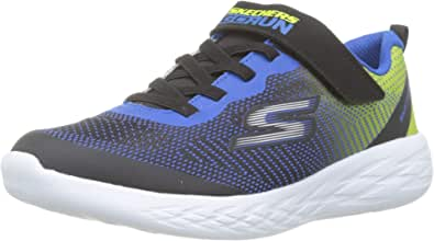 Skechers Boys' Go Run 600-Farrox Trainers, Black (Black Blue Lime Bblm)