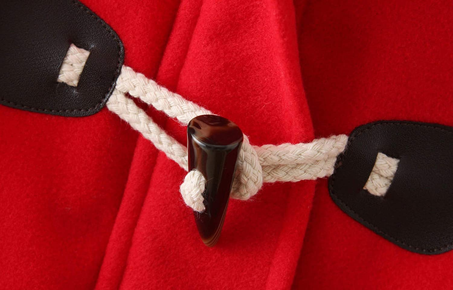 Long Woolen Turn Down Horn Button Hooded Long Woolen Jacket Wind Winter Windproof Warm Coat,red,L
