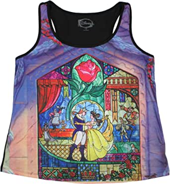 Disney Women's Plus Size Beauty And The Beast Stained Glass Sublimation Racerback Muscle Tank Top