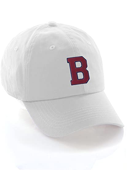 2408ec67167eb Custom Dad Hat A-Z Initial Letters Classic Baseball Cap - White Hat with  Blue Red Letter