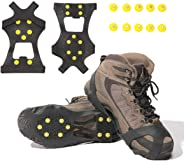 Gpeng Ice & Snow Grips Over Shoe/Boot Traction Cleat Rubber Spikes Anti Slip 10-Stud Crampons Slip-on Stretch Footwear