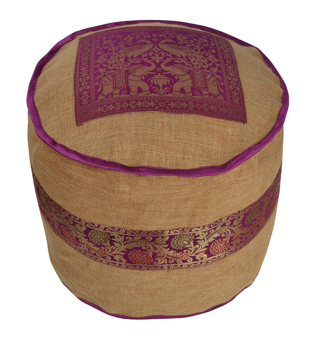 Lalhaveli Pure Burlap Jute Fabric Round Ottoman Cover 17 x 17 x 14 Inch by Lalhaveli