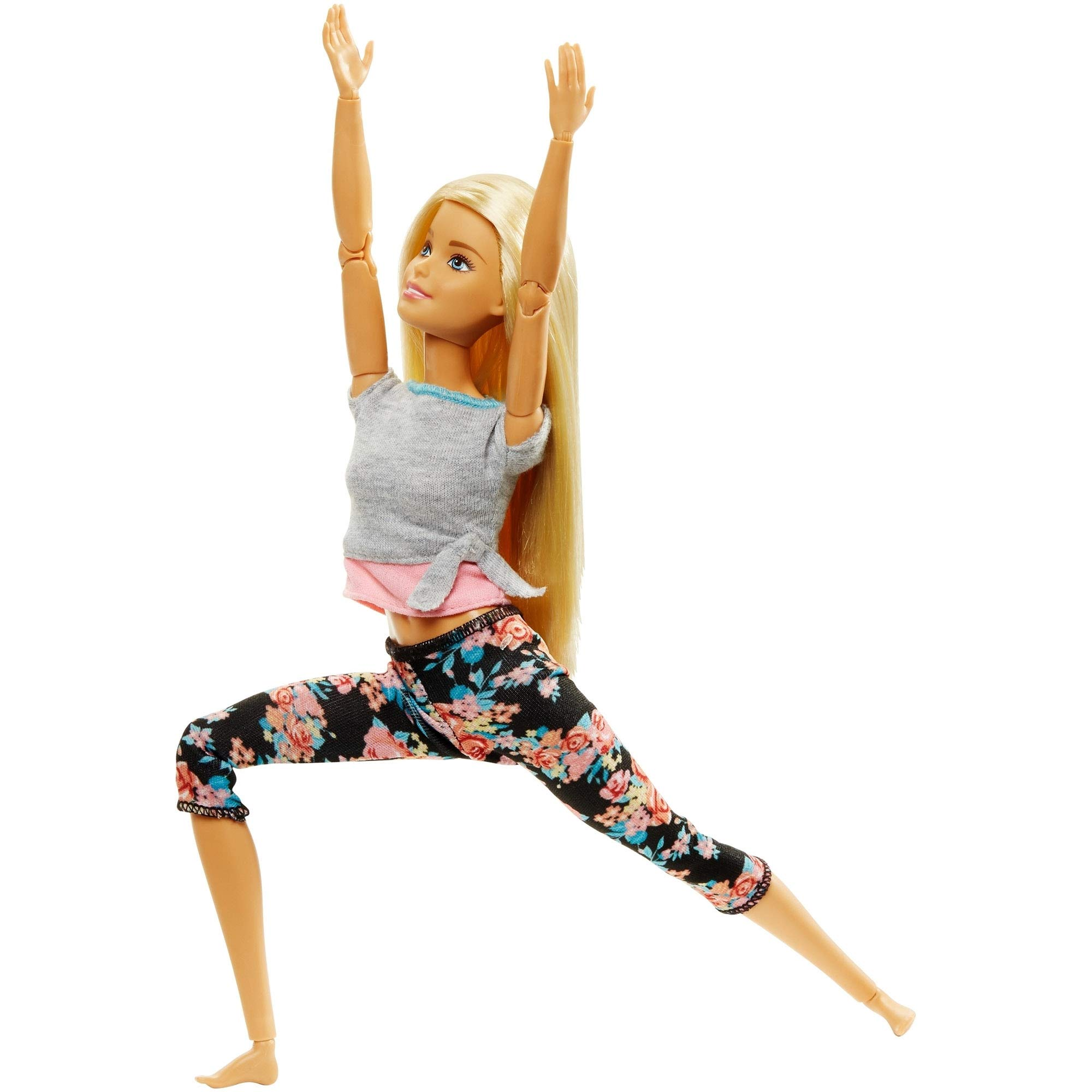 Barbie Made to Move Dolls with 22 Joints and Yoga Clothes, Floral, Grey