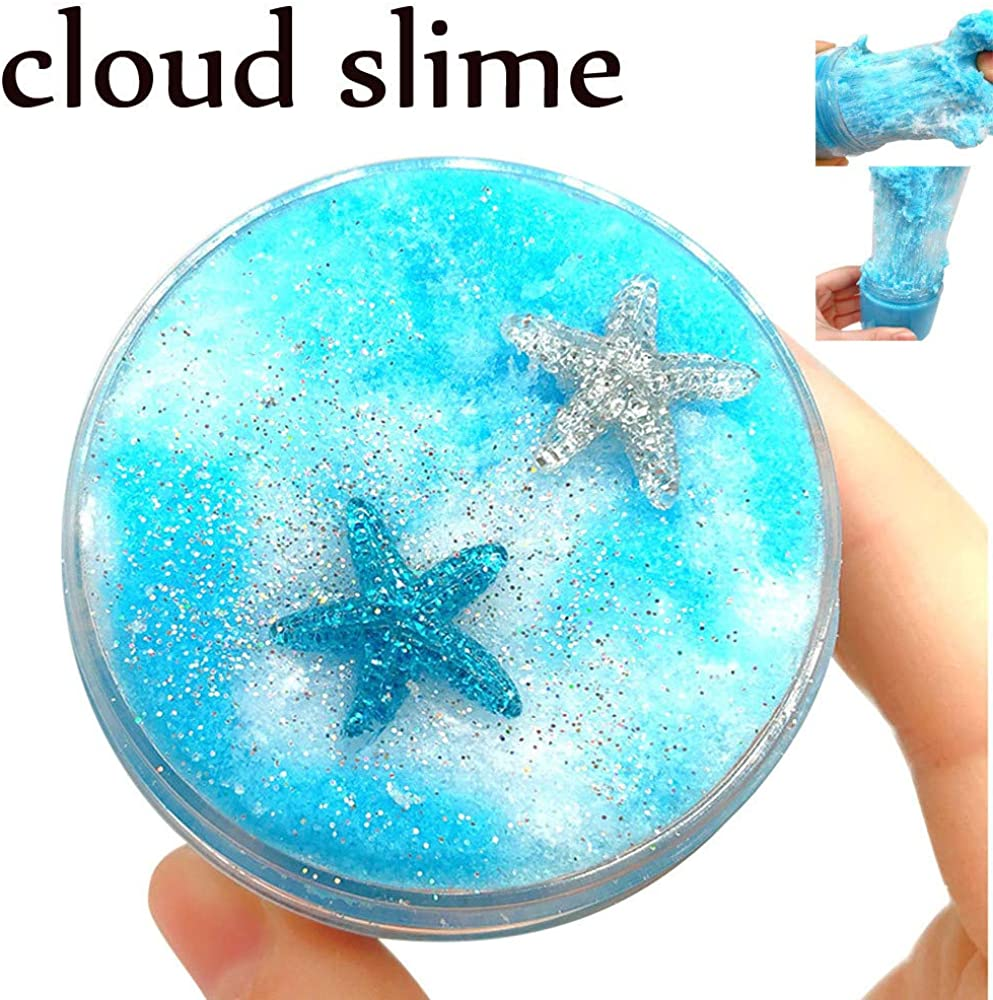 DIGOOD Fluffy Slime Sludge Toy Satisfying Slime Stress Relief Toy Kids Soft Stretchy Non-Sticky