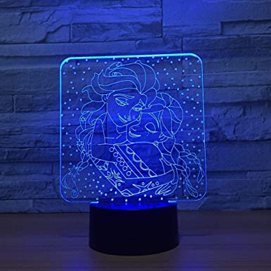 AOXyd Novelty Lamp Lamp Frozen 7 Color Led Night Lamps for Kids Led USB Table Baby Sleeping Room Lamp-Touch