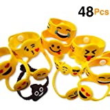 O'Hill 48 Pack Mixed Emoji Wristband Bracelets for Birthday Party Supplies Favors Prize Rewards
