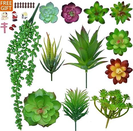 12pcs Artificial Succulent Plants Unpotted Mini Fake Succulents Plant Decor Pack
