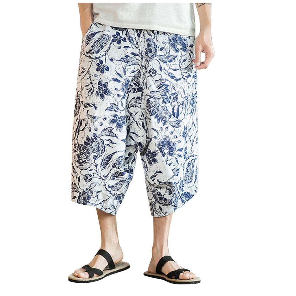 Mens Ethnic Style Harem Pants,Suma-ma Man Summer Casual Cropped Trousers Daily Baggy Linen Wide Leg Pant