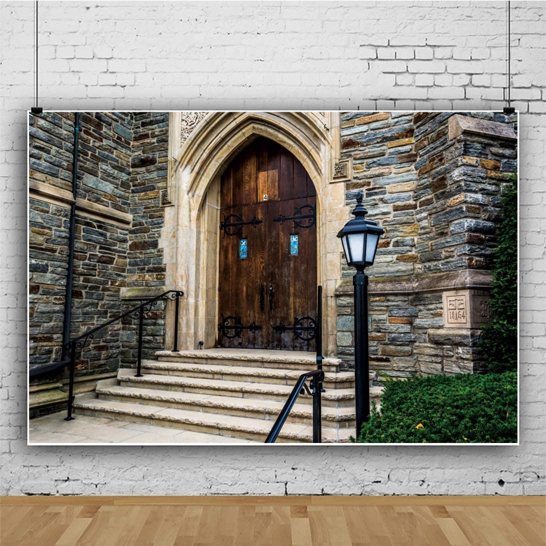 YEELE 12x8ft Europe Architecture Backdrop Front Steps of a Church Photography Background Religious Theme Tourist Attractions Holiday Travel Kids Adults Artistic Portrait Photoshoot Studio Props