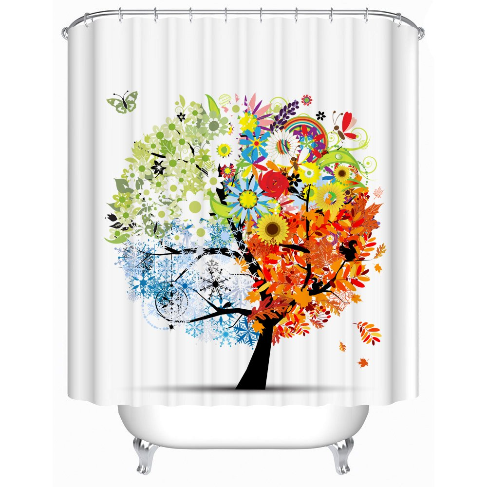 Uphome 72 X 72 Inch Colorful and Elegant Four Season Tree Kids Bathroom Shower Curtains - Flower & Butterfly White Bath Curtain Bathroom Decoration Accessories