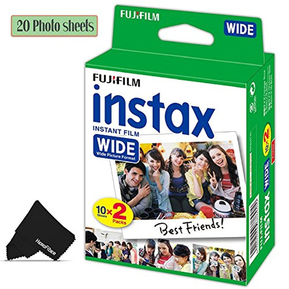 FujiFilm Instax Wide Instant Film 1 Pack of 20 Photo Sheets - Compatible with FujiFilm Instax Wide 300, 210 and 200 Instant Cameras by HeroFiber