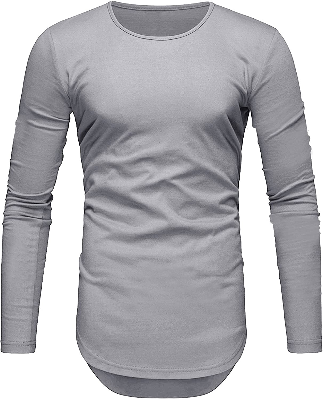 Camiseta de Hombre Manga Larga Slim Fit Ropa Deportiva Algodón Casuales Basicas T-Shirts (Small, Gris): Amazon.es: Ropa y accesorios