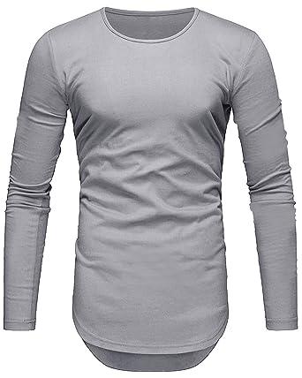 3d5db32bd7d4e Camiseta de Hombre Manga Larga Slim Fit Ropa Deportiva Algodón Casuales  Basicas T-Shirts  Amazon.es  Ropa y accesorios