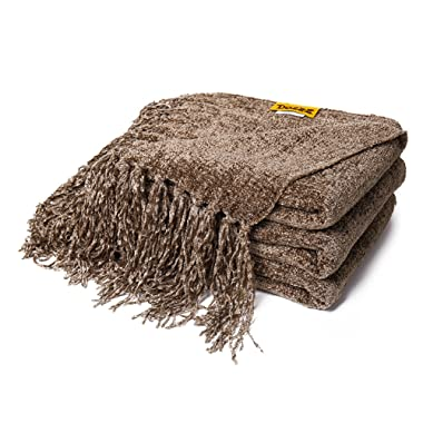 DOZZZ Fluffy Chenille Knitted Throw Blanket With Decorative Fringe and Striped For Home Décor Bed Sofa Couch Chair