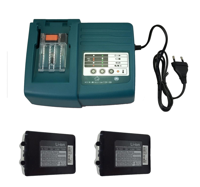 Sostituire 2pcs BL1840 18 V, 4,0 Ah Makita attrezzi batteria BL1830 BL1840 BL1815 BL1850 con 1pcs 1.5 A Makita caricabatterie per cellulari e