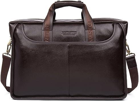 BOSTANTEN Herren Leder Laptop Tasche Aktentasche Henkeltasche Bürotasche Groß Schultertasche Braun