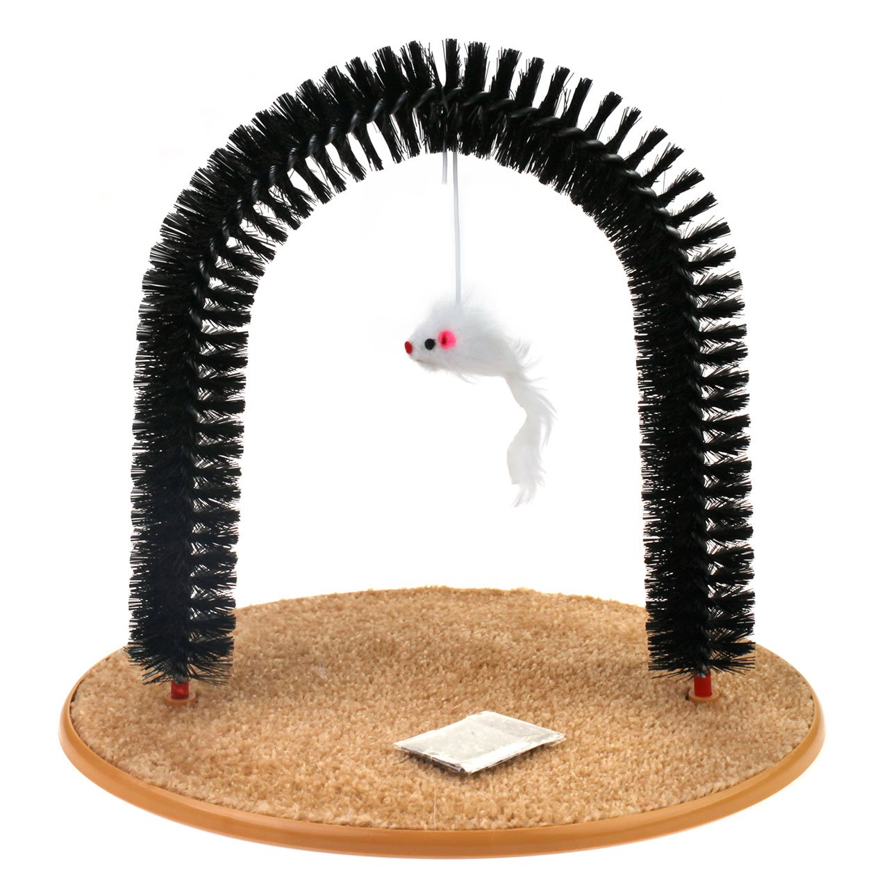 Chiwava Pet Cat Arch with Catnip and Rattle Mice - Self Grooming,Scratching and Massaging Cat Toy & Controls Shedding