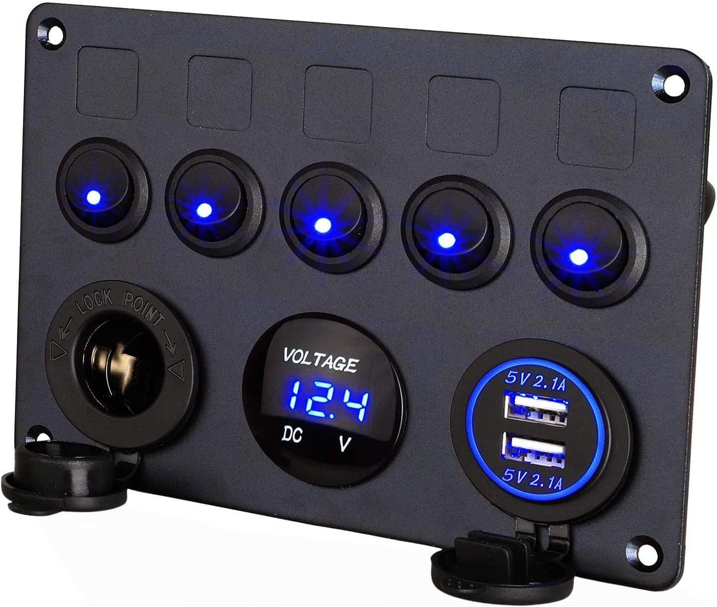 Thlevel Panel de Control de Interruptor de 5 pandillas LED Rocker 12V / 24V Coche Barco Vehículo Panel de Interruptor basculante Marine 2 USB y voltímetro Encendedor de Cigarrillos