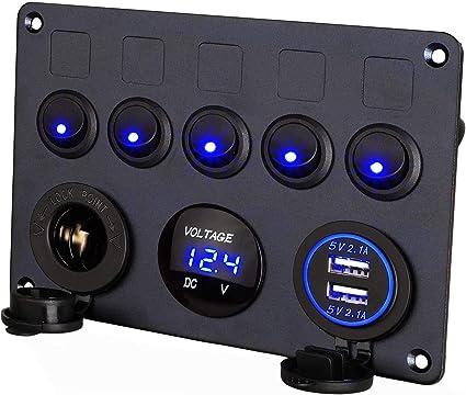 con precablato Pannello interruttori con voltmetro LED doppia presa USB 12V 4.2A Caricabatteria Presa accendisigari Interruttore a bilanciere ON//OFF Pannello 4 in 1 per barca veicoli nautici camion