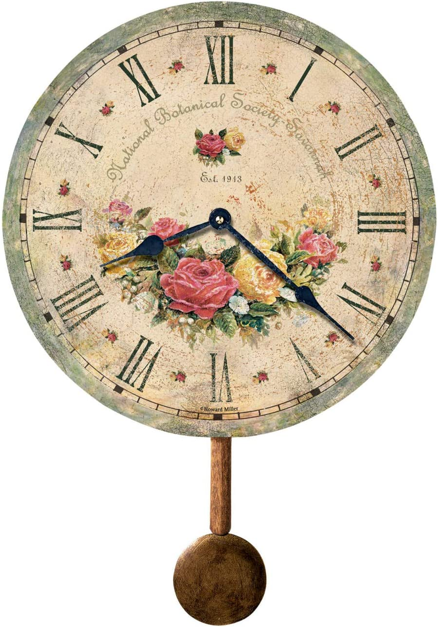 Howard Miller Savannah Botanical Society VI Wall Clock 620-401 Antique Round with Quartz Movement