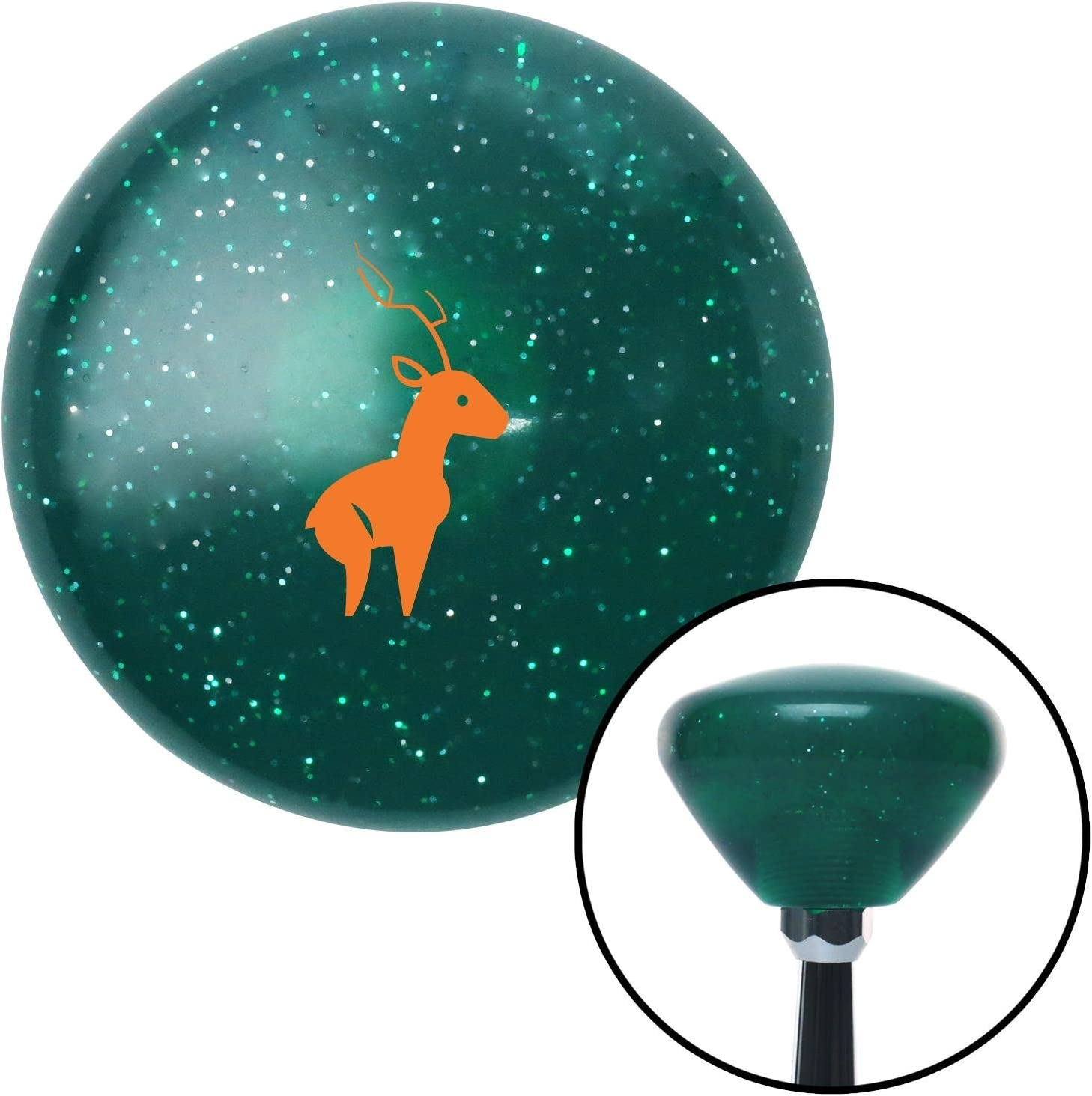 Orange Deer American Shifter 207718 Green Retro Metal Flake Shift Knob with M16 x 1.5 Insert