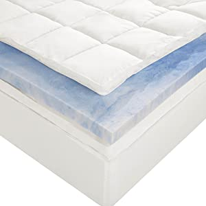 Sleep Innovations 4-Inch Dual Layer Mattress Topper - Gel Memory Foam and Plush Fiber. 10-year limited warranty. Queen Size