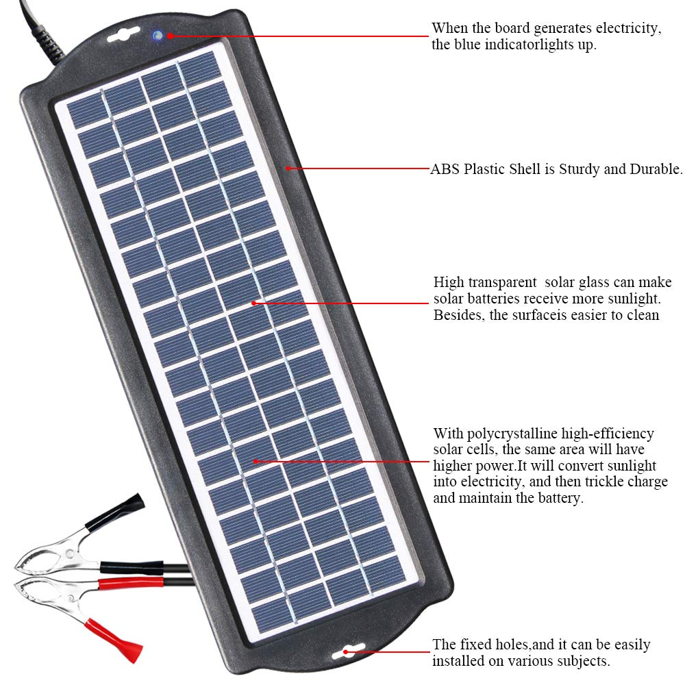 POWISER 3.5W Solar Battery Charger 12V Solar Powered Battery maintainer & Charger,Suitable for Automotive, Motorcycle, Boat, Marine, RV, Trailer, Powersports, Snowmobile, etc. by POWISER (Image #5)