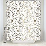 CHARMHOME Geometric Gold Line Waterproof Polyester Fabric Shower Curtain Bathroom Decor