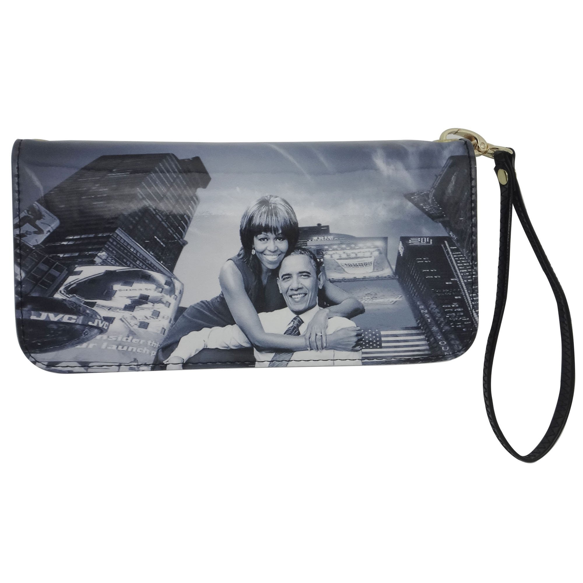 Michelle And Barack Obama Style Wristlet Clutch