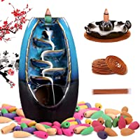 Sweet Alice Incense Burner, Incense Waterfall Burner, Indoor Waterfall backflow Incense Holder, Aromatherapy Ornament, 120 Backflow Incense Cones,30 Incense Stick for Indoor Learning and Working Yoga