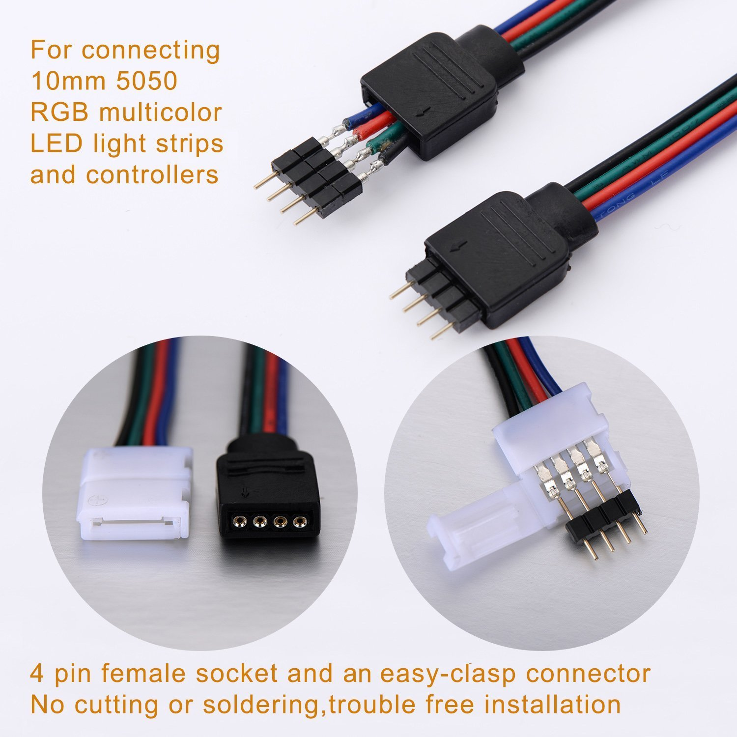 164ft5m 4 pin rgb led strip extension cable led strips 164ft5m 4 pin rgb led strip extension cable led strips connectors kits with 4 strip jumpers l shape connecters for 5050 flexible rgb led strip light aloadofball Images