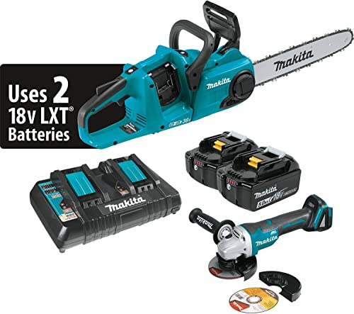 Makita XCU03PTX1 18V X2 36V LXT Lithium-Ion Cordless 5.0Ah and Brushless 14 Chain Saw Kit and Angle Grinder