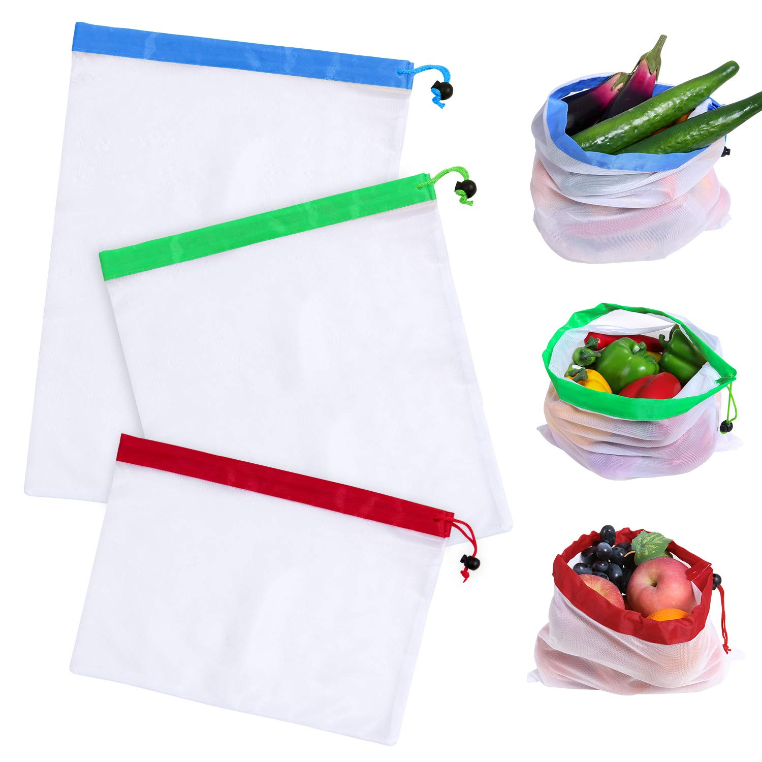 15Pcs Drawstring Mesh Produce Bags Reusable Eco Friendly Shopping Grocery Bags Small Large Folding Green Fresh Fruit Vegetable Bag for Home Toy Craft, Fridge Food Storage M MILLIONGADGETS