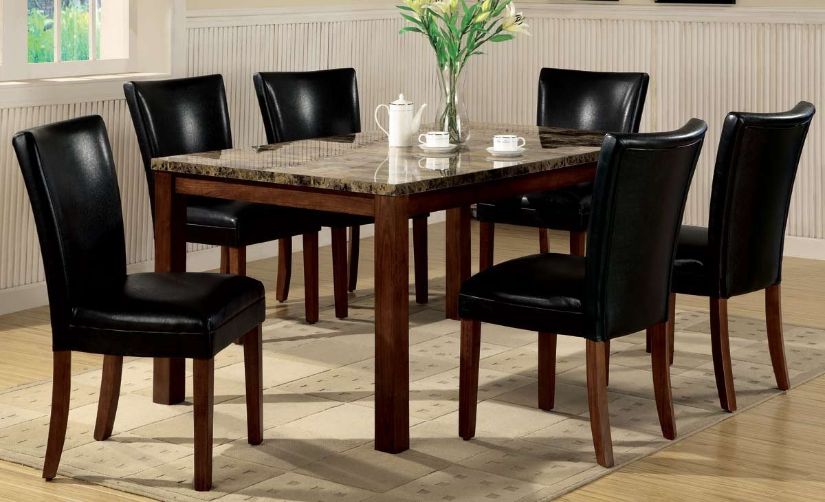 Amazon.com   7pc Dining Table U0026 Parson Chairs Set Black Leather Like Rich  Cherry Finish   Table U0026 Chair Sets
