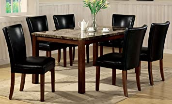 7pc Dining Table Parson Chairs Set Black Leather Like Rich Cherry Finish