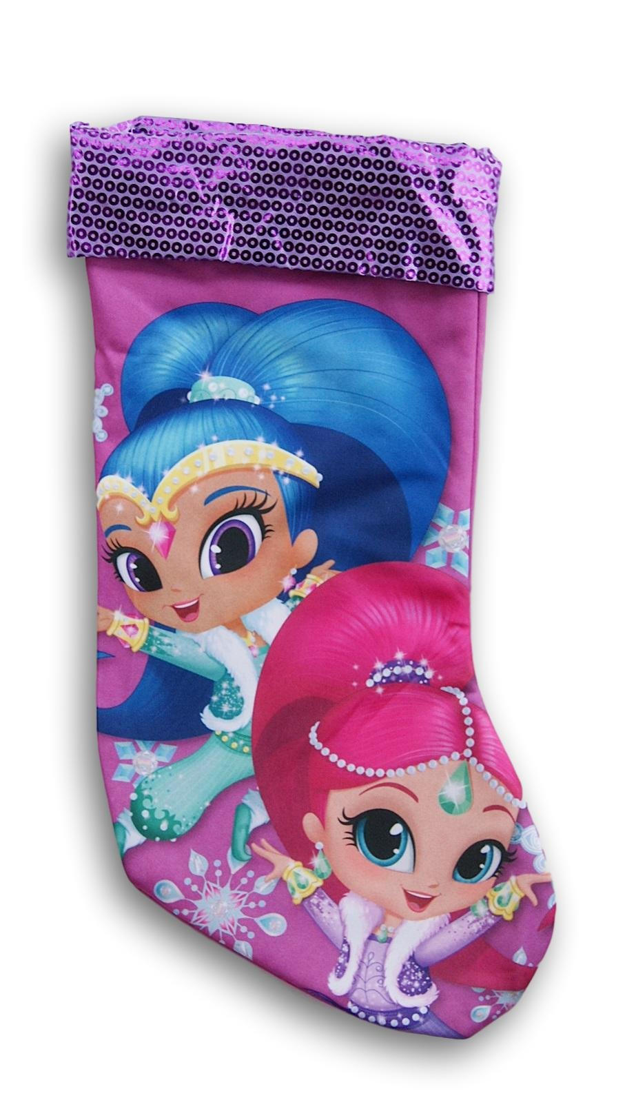 Nickelodeon Purple Shimmer & Shine Holiday Christmas Stocking - 16.5 x 9 Inches