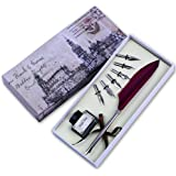 FEATTY Quill Pen Set Antique Dip Feather Pen Calligraphy Writing With 6 PCS Nibs (wine red)