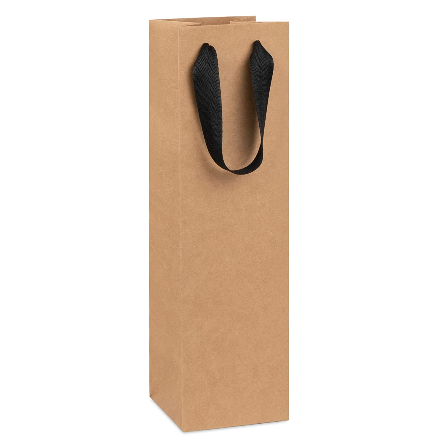 Wine Bag, Kraft Brown, for Wine Bottles, Whiskey/Spirits, Reusable Bag, Laminated for Extra Strength. (Kraft, 10 Pack)
