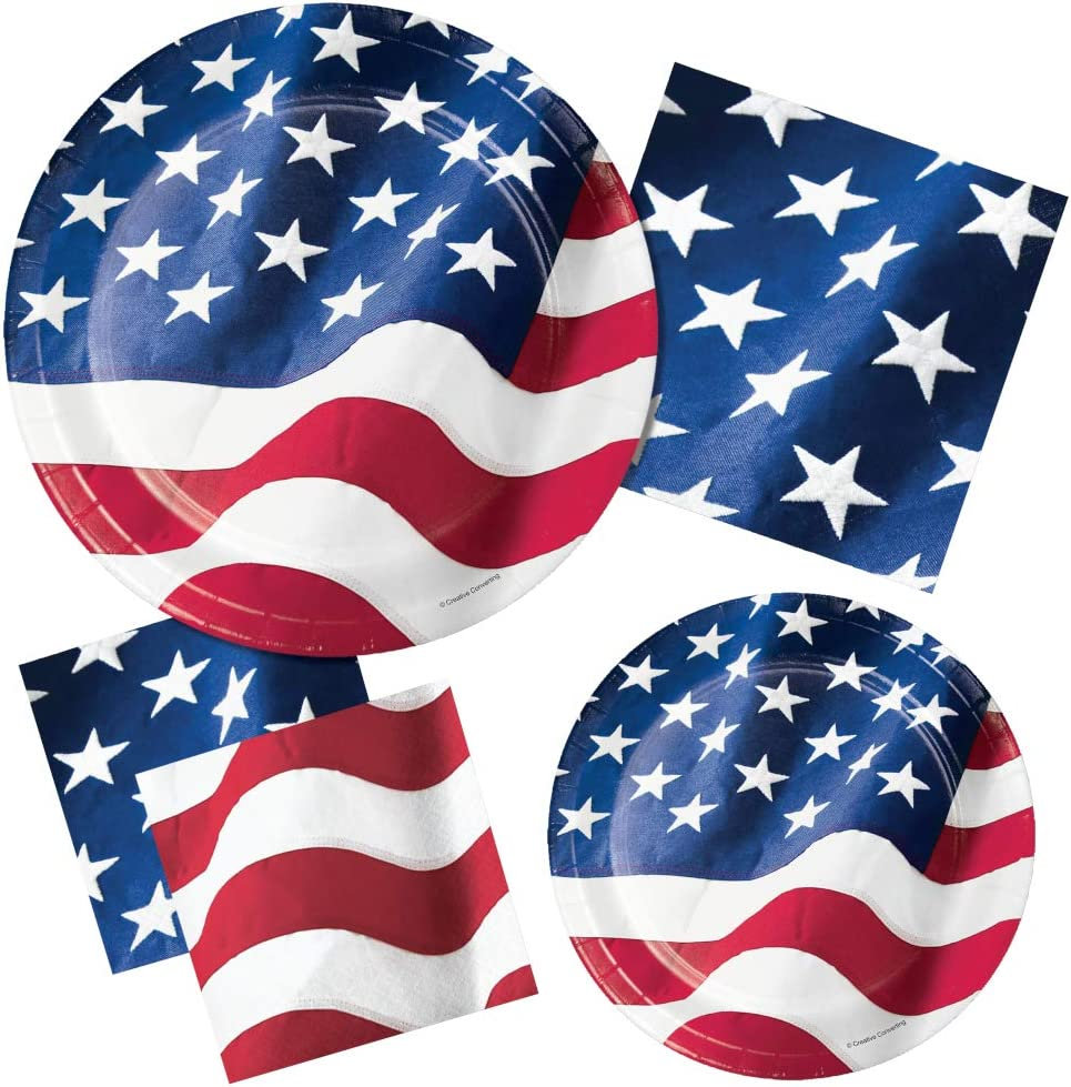 Patriotic American Flag Party Supplies for 16 People | Bundle Includes Paper Plates and Napkins | Stars & Stripes American Flag Design