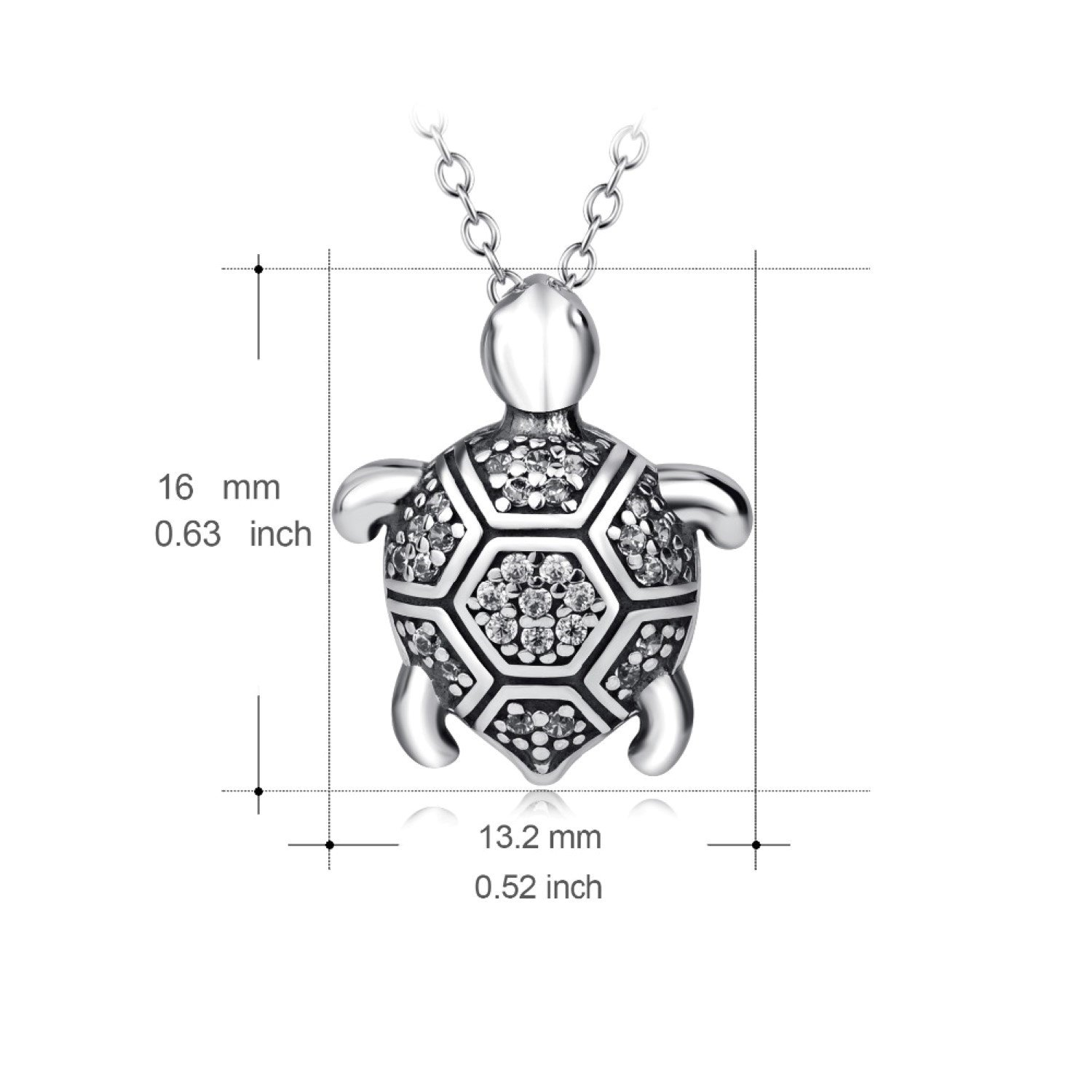 CS-DB Lovely Turtle Crystal Pendants Silver Necklaces