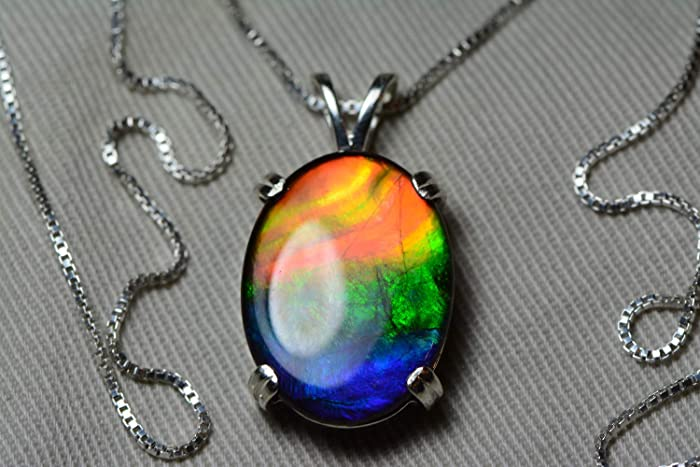 93dc9ceb788eaa Image Unavailable. Image not available for. Color: Rainbow Ammolite Necklace  ...