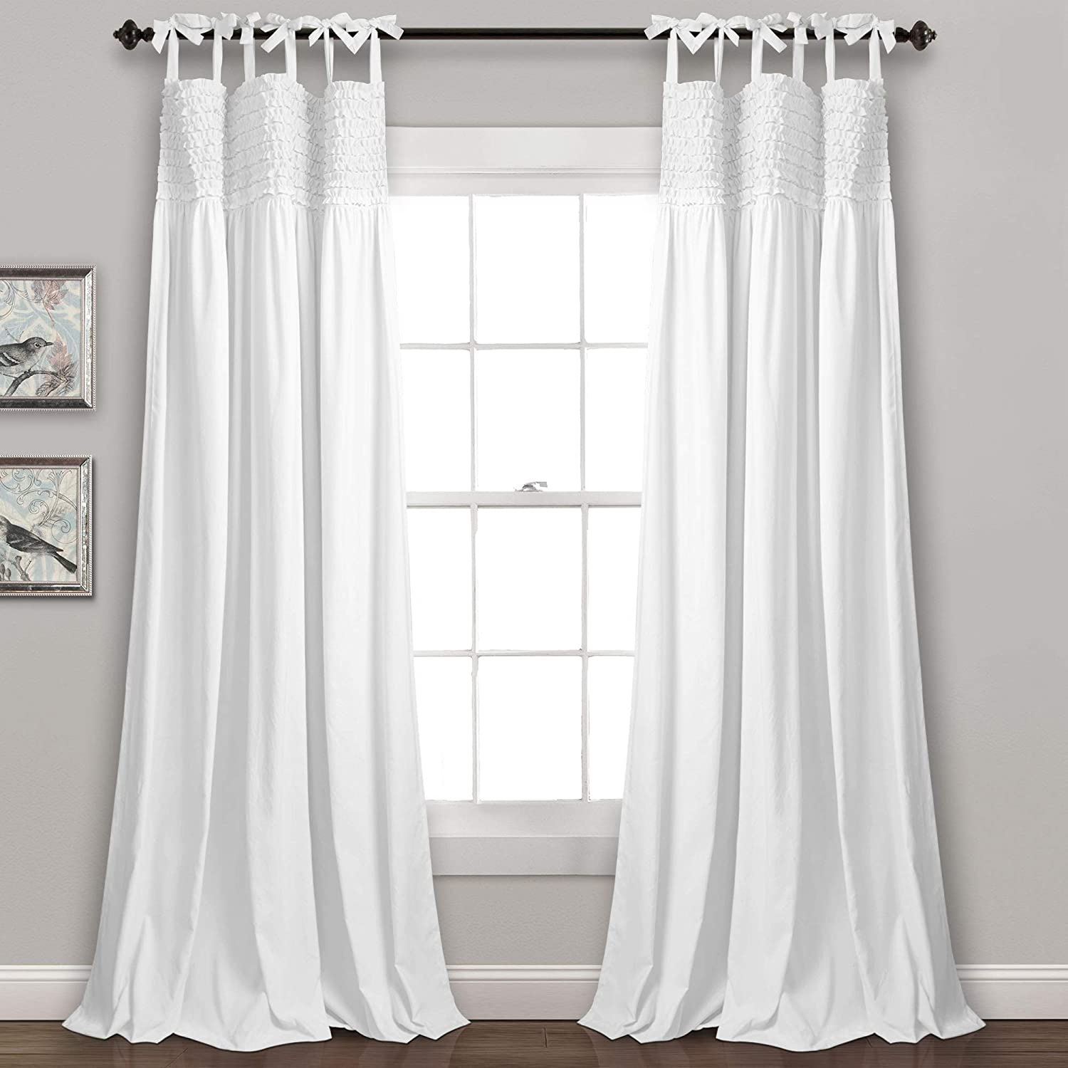 "Lush Decor, White Lydia Ruffle Window Curtain Panel Pair, 95"" x 40"", 95"" L"