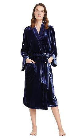 4932aefb89 LILYSILK Women s Silk Velvet Dressing Gown Long Ladies Robe Kimono Navy  Blue Size ...